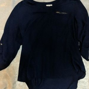 Maurice's semi sheer 3/4 sleeve navy blue xl